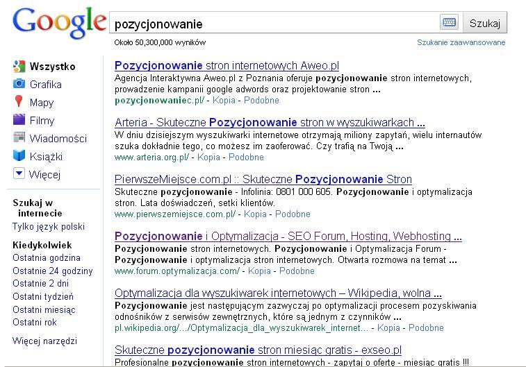 Interfejs Google po wyłączeniu JavaScript